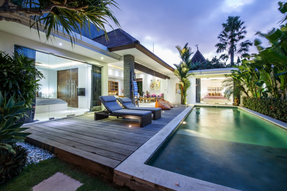 Villas in Seminyak with a private pool and lazy chairs to enjoy the day